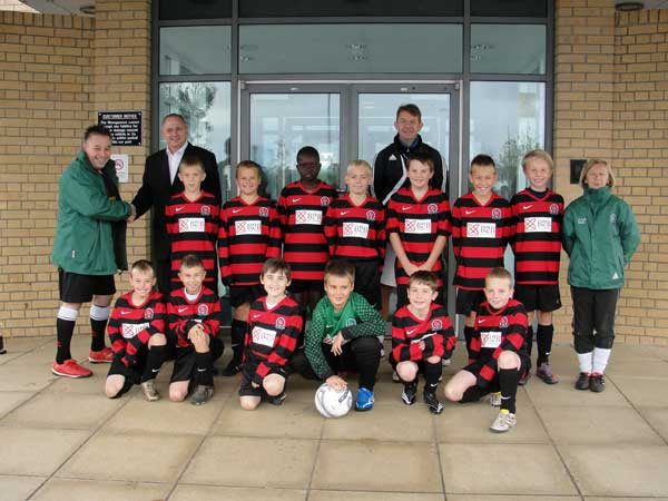 The Under 11 team in their away kit sponsored by B2B